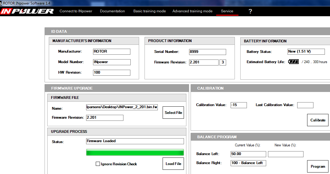 ROTOR INpower Software v1.4 Info